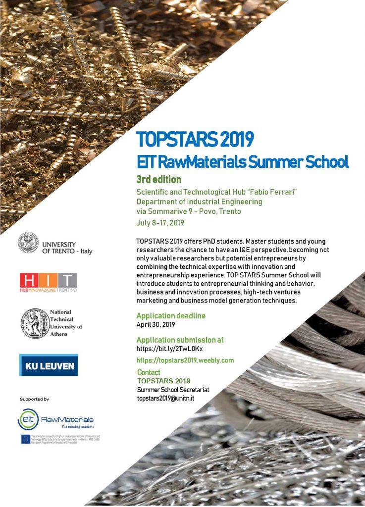 TOP STARS 2019 EIT RawMaterials Summer School